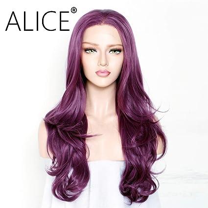 ALICE Peluca de encaje frontal 55,88 cm de largo, color morado, peluca