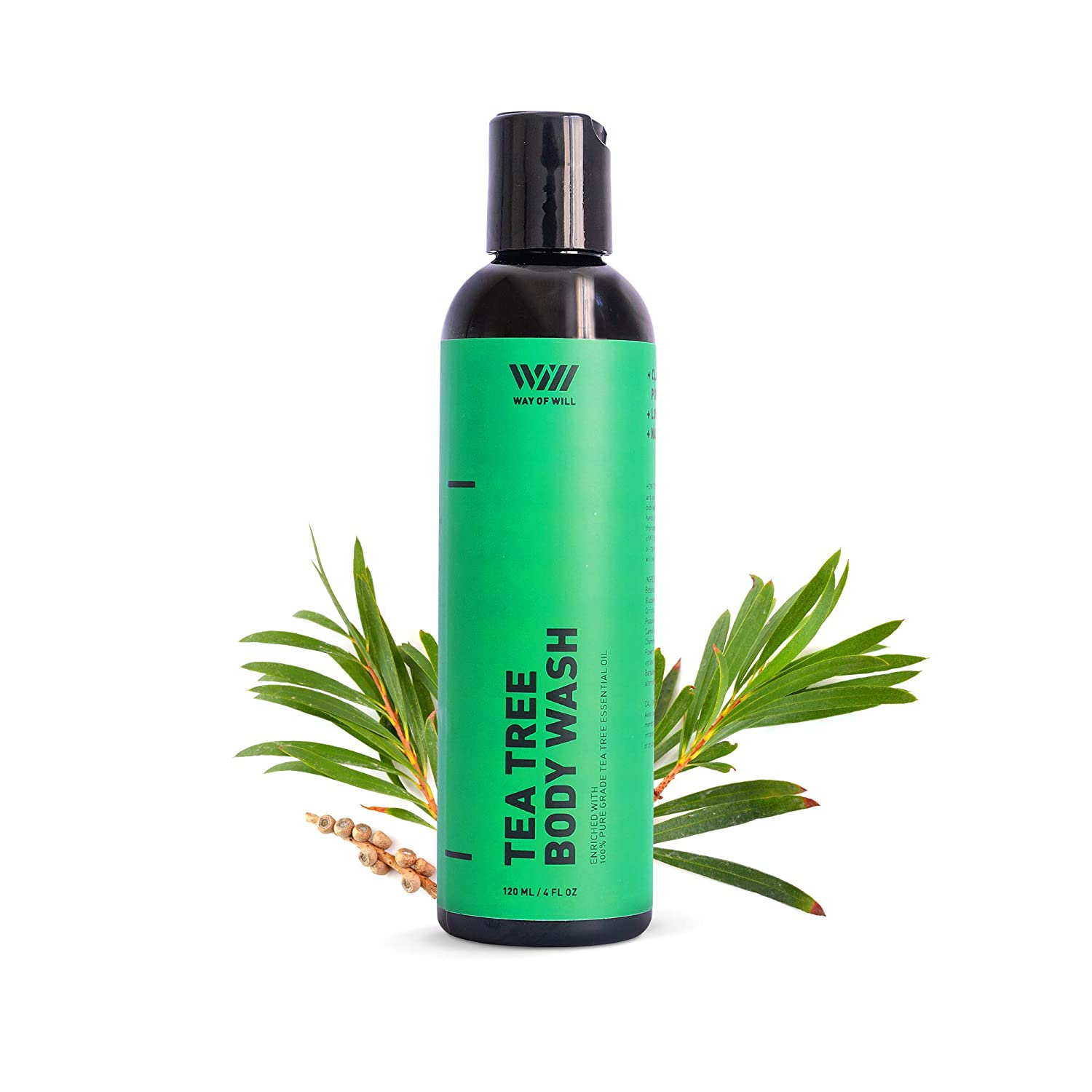 Tea Tree Body Wash, Moisturizing Body Wash with Pure Tea Tree Oil, Soothes Skin, Body Wash for Women and Men, Paraben and Sulfate Free, 120 mL - Way of Will