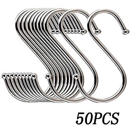 50PCS Stainless Steel S Shaped Hooks Premium Heavy Duty Hangers Hanging Hooks