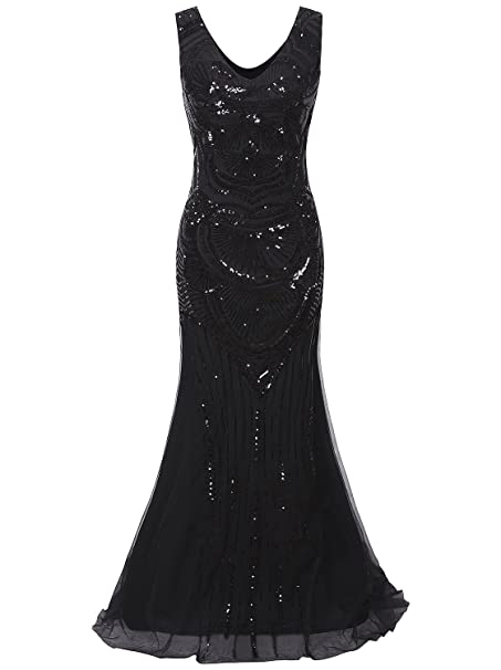 7ae6ce61ad Vijiv 1920s Long Maxi Prom Gowns Sequin Embellished Bridesmaid Wedding Evening  Dress