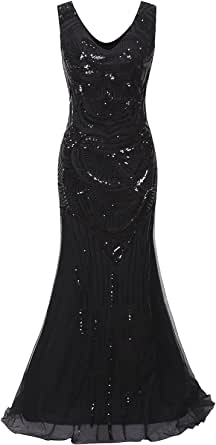Vijiv 1920s Long Maxi Prom Gowns Sequin Mermaid Bridesmaid Formal Evening Dress