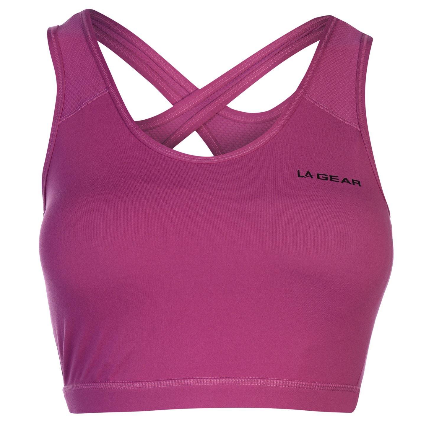 9839ab3085679 LA Gear Womens Cropped Sports Bra  Amazon.co.uk  Clothing