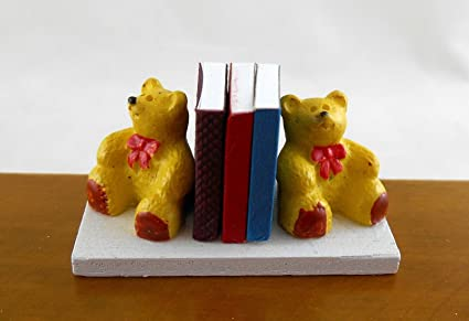 Melody Jane Dolls House Teddy Bear Bookends Miniature Nursery Toy Shop Accessory