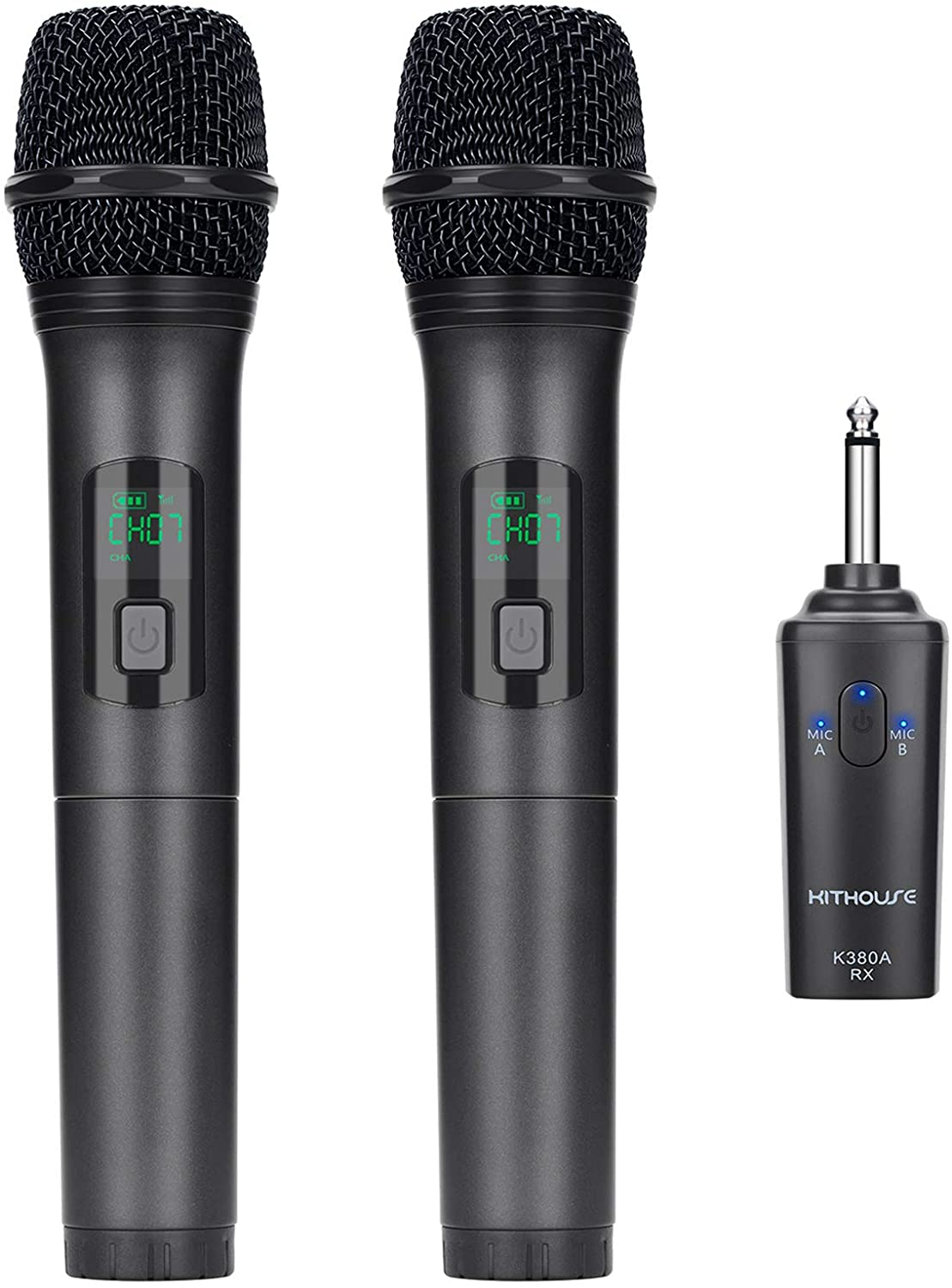 Kithouse K380A Wireless Microphone Karaoke Microphone Wireless Mic Dual With Rechargeable Bluetooth Receiver System Set - UHF Handheld Cordless Microphone For Singing Speech Church(Elegant Black): Musical Instruments