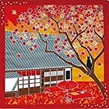 Furoshiki Small-size Japanese Wrapping Cloth Traveling-cat Cat Autumn Leaves Momiji November by Tama no osanpo