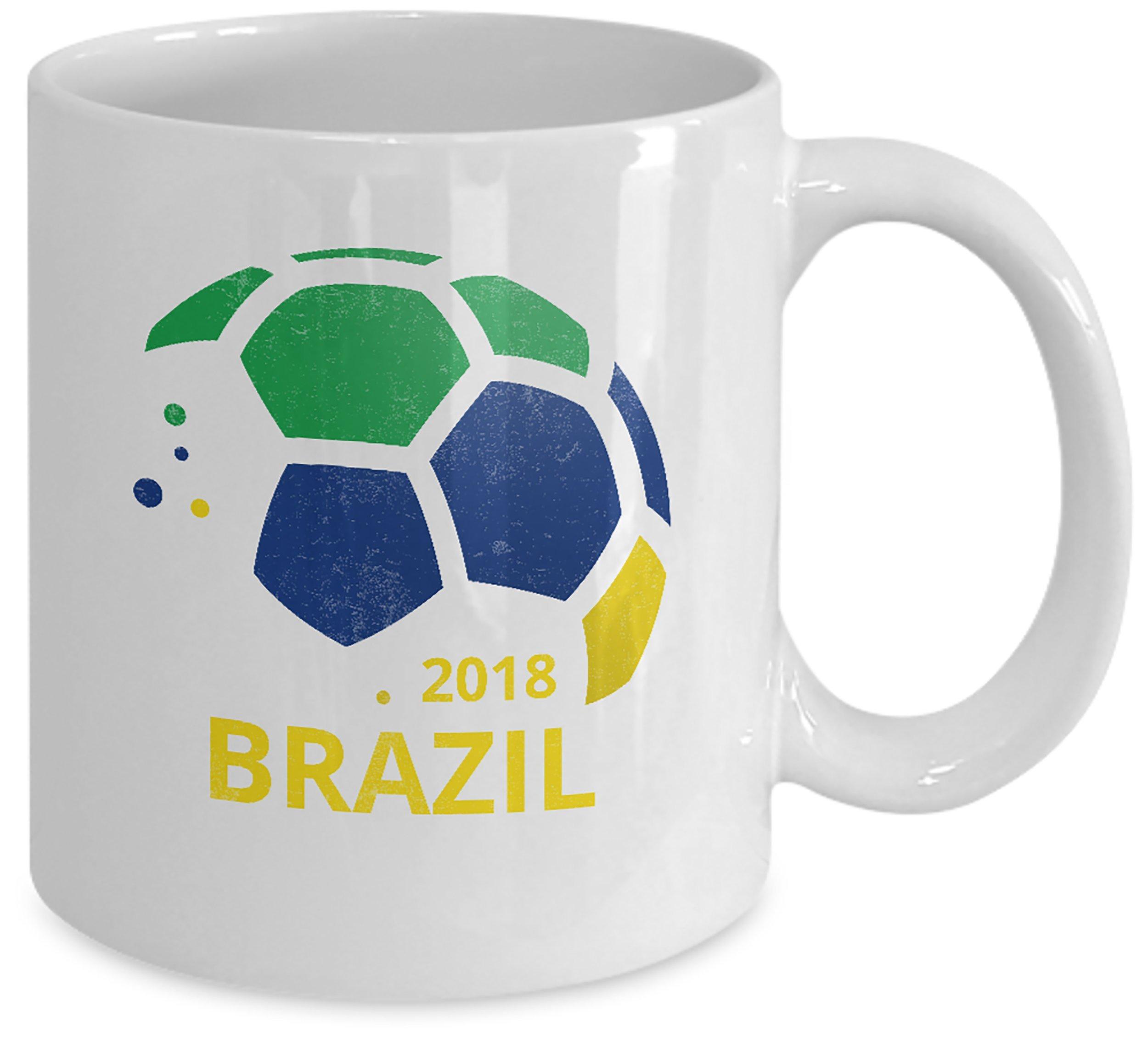 Brazil Soccer Team Coffee Mug - 11oz White Ceramic Tea Cup. World Futbol Country Flag Pride Novelty Gift. Set of 1.