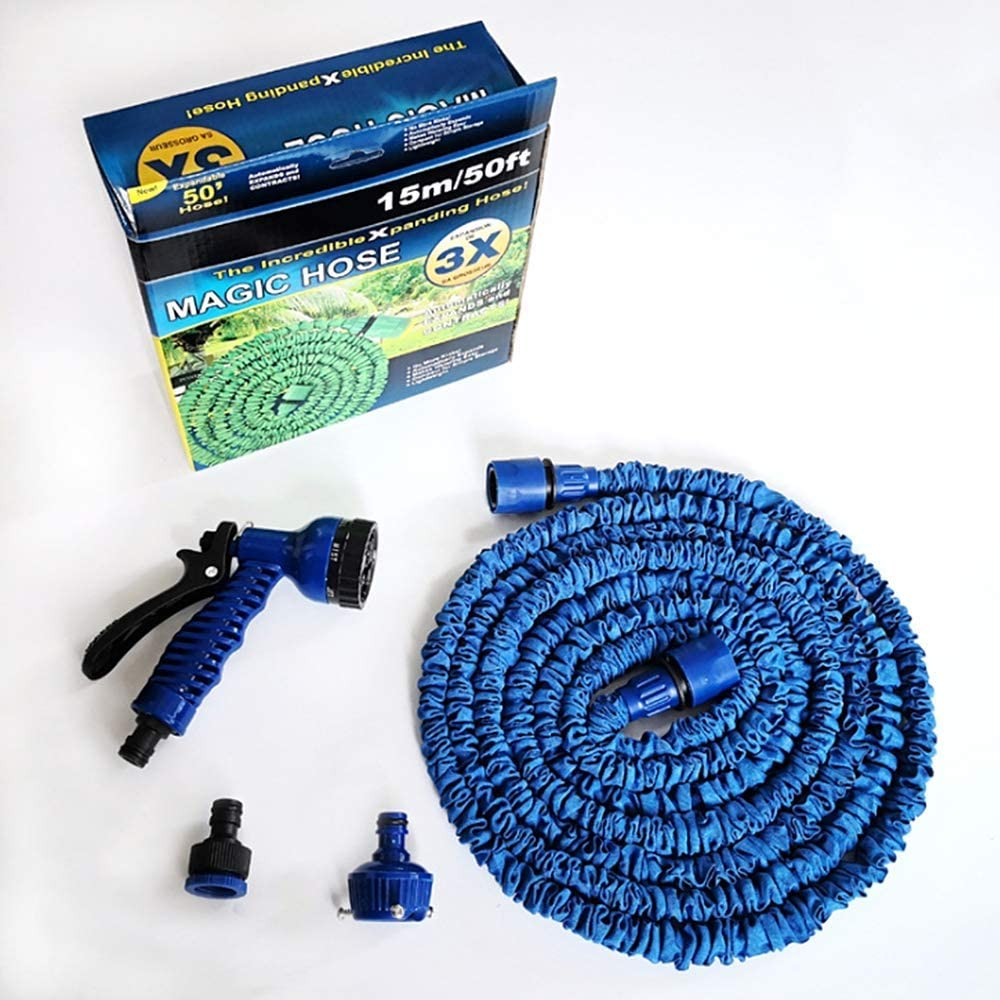 AXAA Expandable Garden Hose Pipe Water Gun - 75ft Flexible 3 Times Expanding 7 Function Spray Gun Lightweight Shower Water Hose For Washing Car/irrigation/cleaning,blue Blue