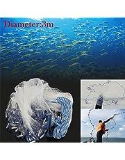 10FT 3 Meter Spin Network Hand Cast Mesh Fishing Bait Fish Net + Sinker AU Stock
