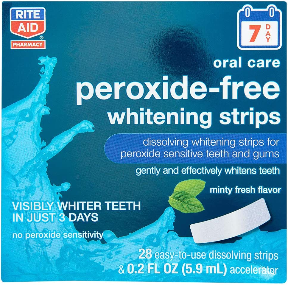 Rite Aid Teeth Whitening Strips, Peroxide-Free, Minty Fresh Flavor - 28 Strips | Teeth Stain Remover