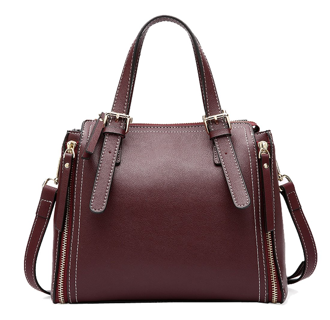 Heshe Women's Leather Shoulder Handbags Tote Bag Top Handle Bags Cross Body Bag Satchel Designer Purse (Maroon)