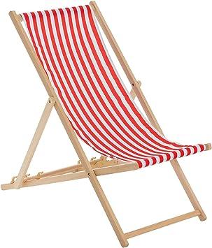 Harbour Housewares Tumbona reclinable y Plegable - Ideal para Playa y jardín - Estilo Tradicional - Rayas Rojas/Blancas: Amazon.es: Hogar