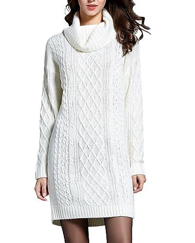 Zhili Jersey De Cuello Alto Para Mujer suéter M Blanco