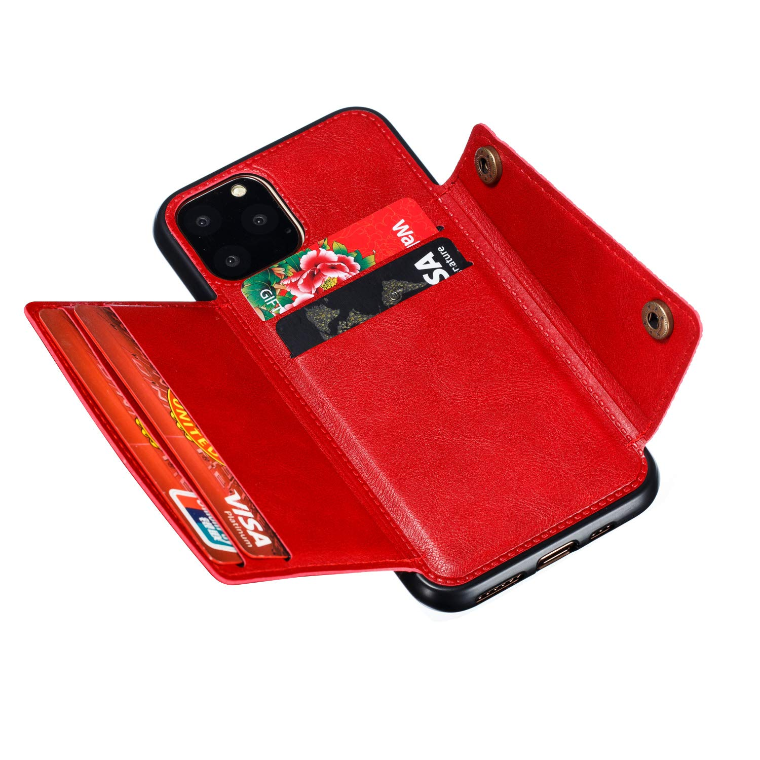 Shinyzone Case for iPhone 11 6.1 inch,Women Men Wallet Case with Card Slot Holder,Flip Leather PU Back Cover with Magnetic Buckle Closure Compatible with Magnetic Car Mount,Red
