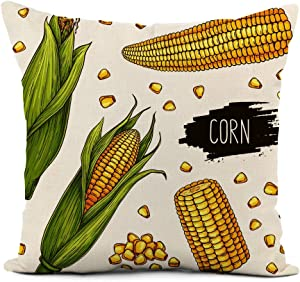 rouihot Linen Throw Pillow Cover Hand Drawn Corn Set Isolated Ripe Cobs and Grain with Label Vegetarian Food Design 18x18 Inch Home Decor Pillowcase Square Pillow Case Cushion Cover for Sofa Bed