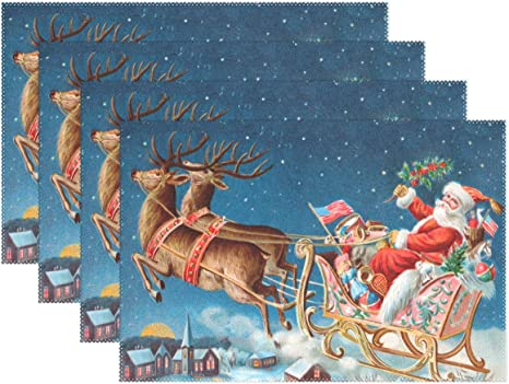Vintage Table Runner Santa In His Sleigh DeliveringToys