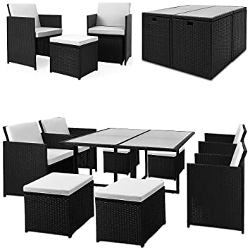 Cube Poly Rattan Garden Furniture Set -  pcs - Table Chairs Sofa