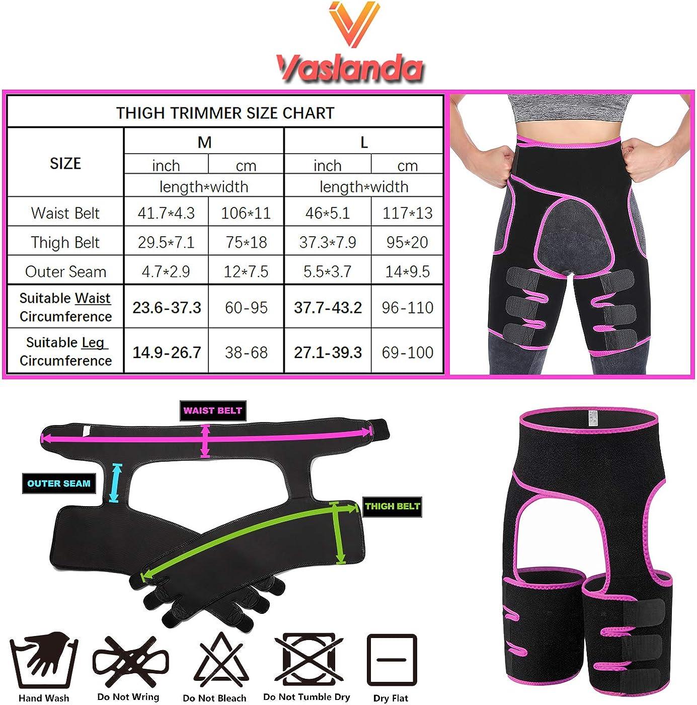 Vaslanda 2 in 1 Waist Trainer Thigh Trimmer Butt Lifter Workout Belt Neoprene Squat Training Hip Shaping Thigh Slimmer Shaper