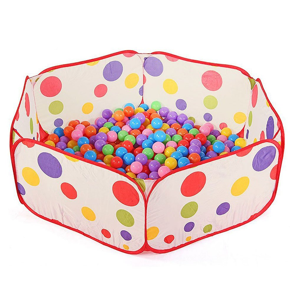 Belegend Portable Kids Pool Children Outdoor Indoor Game Polka Dot Baby Toy Ocean Ball Pit Without Balls White