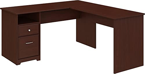 Bush Furniture Cabot 60W L Shaped Computer Desk with Drawers in Harvest Cherry