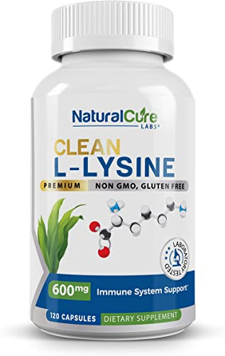 Natural Cure Labs Clean L-Lysine 600mg, 120 Capsules