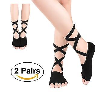 G 2 Pares Mujer de Calcetines de Mitad Dedos Separados para Yoga,Pilates y Baile Calcetines Fitness/Danza/Ballet Calcetín (Negro): Amazon.es: Deportes y ...