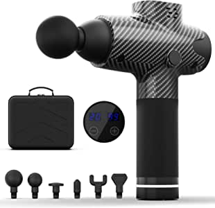 PoplarTrees Massage Gun Deep Tissue, 2020 Upgrade Super Quiet, Percussion Handheld Muscle Neck Back Massager with 20 Speeds & 6 Massage Heads, Professional Electric Muscle Gun for Athletes