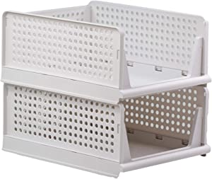 Bee Neat Stackable Basket Organizer Pull Out Drawers for Clothes, Food, Snacks, Vegetables, Toys Storage – Sliding Foldable Bins to Organize Your Closet Cabinet Under Sink Wardrobe – White – Pack of 2