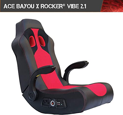 """Ace Bayou X Rocker Vibe 2.1 Wireless Bluetooth Highback Rocking Video Gaming Floor Chair, Vibration, Foldable, Breathable Mesh, 2 Speakers, 4"""" Subwoofer, Padded Arms and Head Rest"""