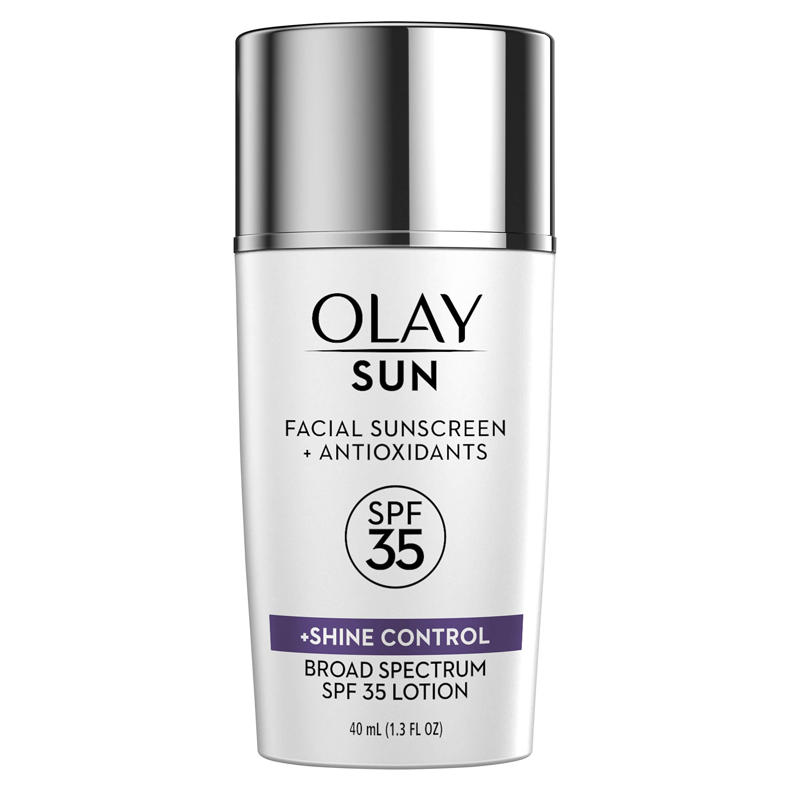 Facial Sunscreen and Antioxidants by Olay Sun, SPF 35 Face Lotion + Shine Control, 1.3 Fl Oz