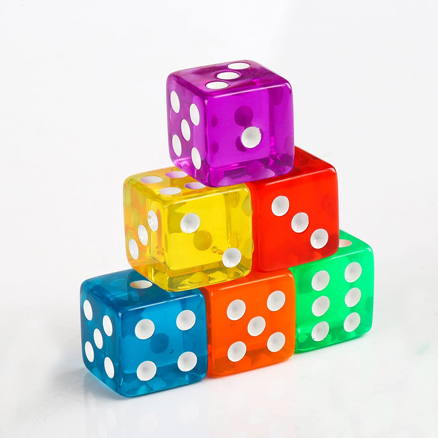 Games GWHOLE 6-Sided Dice Set for Math Learning 8 Colors Casino Party Favor and Gifts