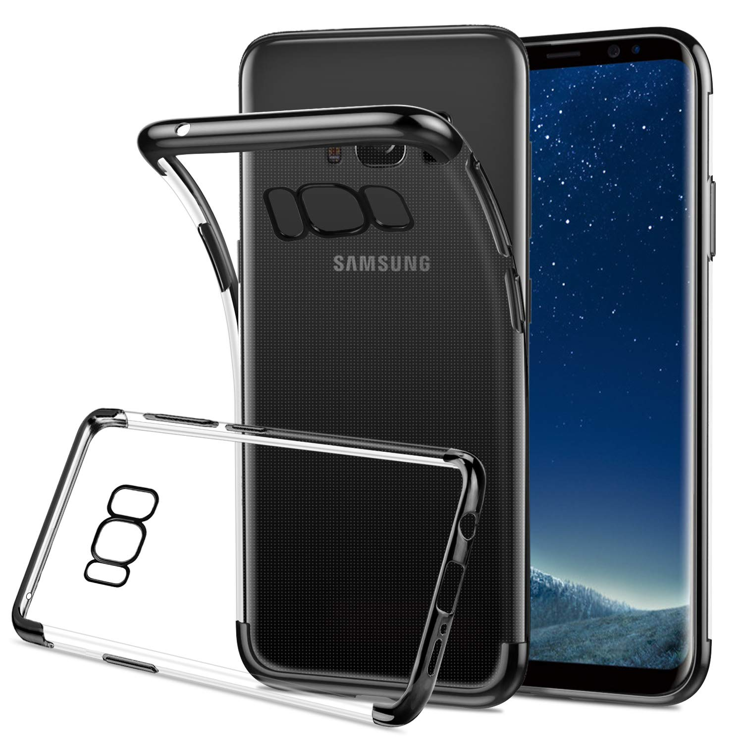 quality design 9a226 0263c HOOMIL Silicone Clear Case for Samsung Galaxy S8, [Black Bumper ...