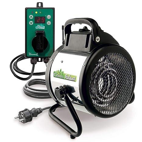 Bio Green Calefactor de ventilador Palma digital, plata/negro, 2000W