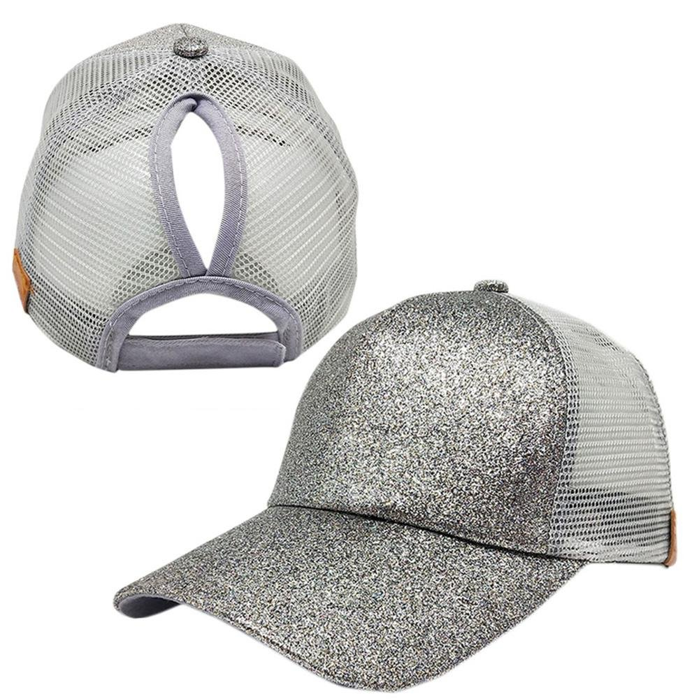 b7945c3d5 Silver Ponytail Baseball Hat- Aolvo Personalized High Messy Bun Baseball Cap  Adjustable Flatbill Snapback Hat Blank Trucker Hat Plain Glitter Sequin Sun  Hat ...