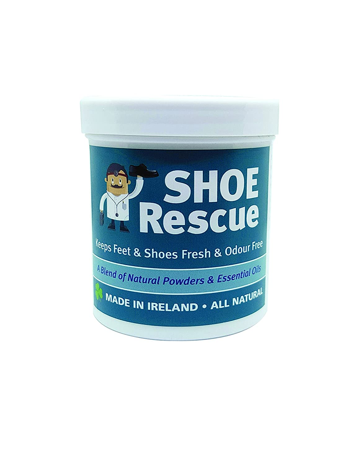 Shoe and foot powder 100g - Foot odour remover and eliminator - Developed by a registered podiatrist Shoe Rescue is a completely natural deodorant remedy to eliminate smelly shoes and feet - Contains beautiful essential oils Tea Tree Lavender and Peppermin