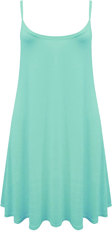 RM Sleeveless Small Medium and Plus Size Plain Cami Swing Summer Dresses
