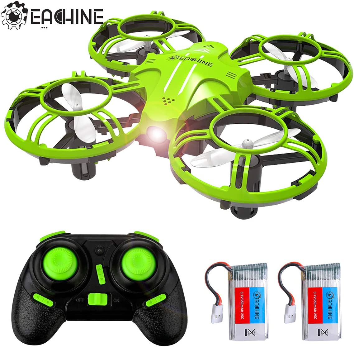 EACHINE E016H Mini Drone para Niños con Control de Altura, 16 Minutos Vuelo de Tiempo Largo Hélice Protección Mini Quadcopter con Modo sin Cabeza Alarma de Batería Baja 3D Flips LED Luz (2Xbatería)