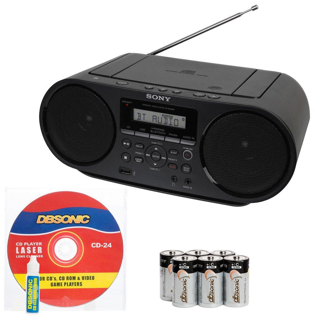 Sony Portable Mega Bass Stereo Boombox Sound System with NFC Wireless Bluetooth, USB Input, MP3 CD Player, AM/FM Radio, 30 Presets, Headphone & AUX Jack - Bonus DB Sonic CD Head Cleaner & Batteries