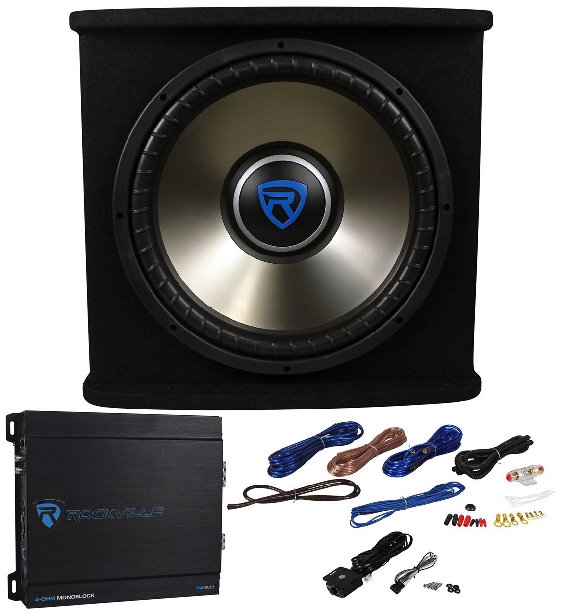 Rockville Rvspl122 Dual 12 1800w Car Subwoofer Sub Box Boss Kit2 8 Gauge Complete Amplifier Wiring Kit Pair Vminnovations Amp Wires Bass Package Electronics
