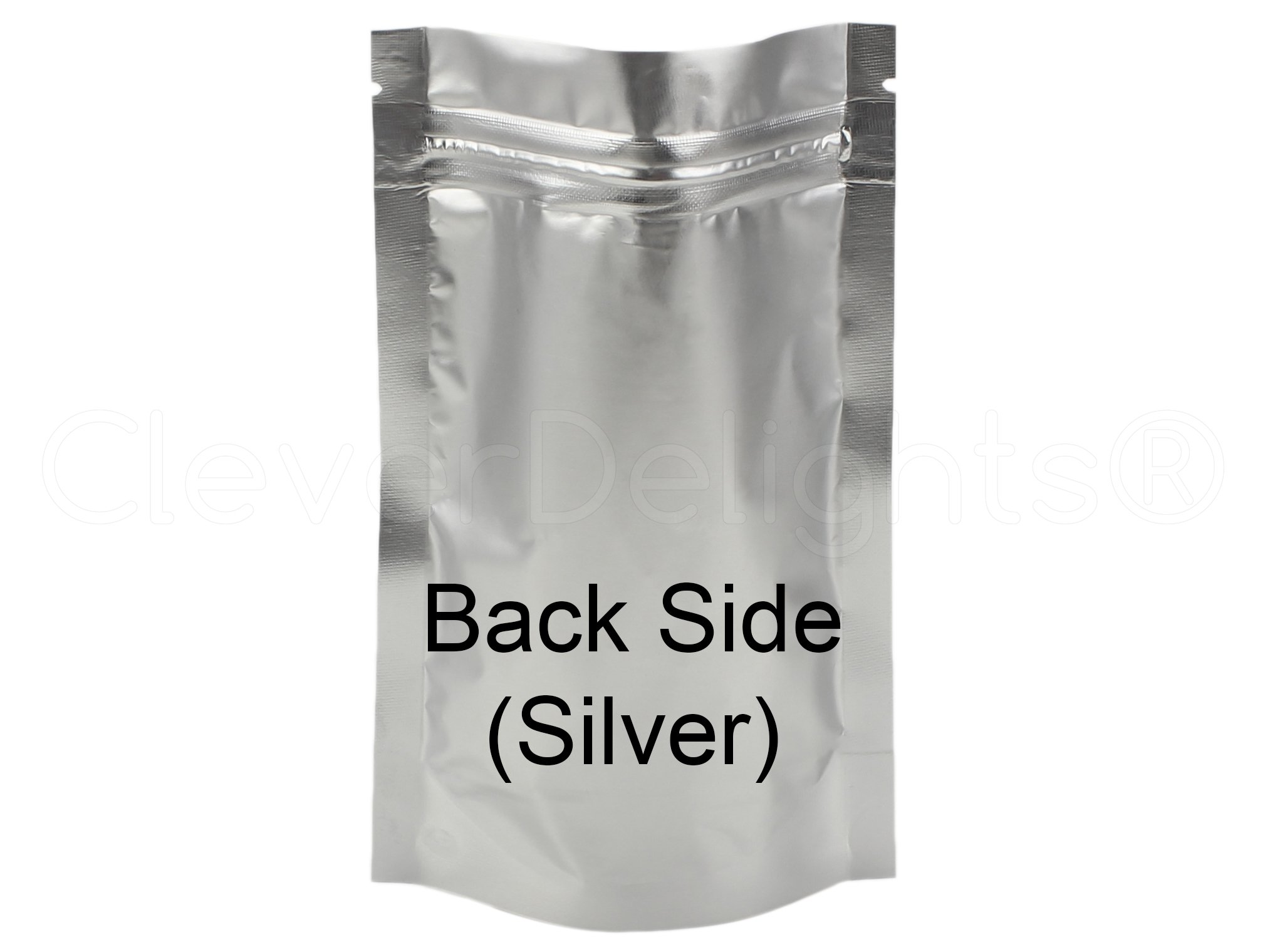 1000 Pack - CleverDelights Silver/Clear Stand-Up Pouches - 4'' x 6'' x 2'' - 2oz - Resealable Ziplock Bag by CleverDelights (Image #3)