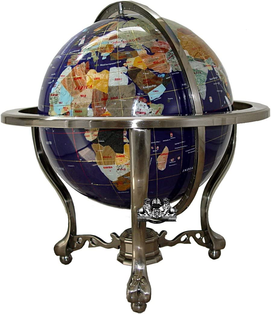 Unique Art 21-inch Tall Blue Lapis Ocean Table Top Gemstone World Globe with Silver Tripod andCanada Divided Province Stone USA State Stone