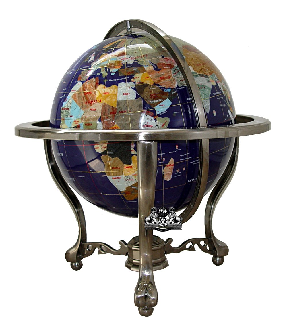 Unique Art 21-inch Tall Blue Lapis Ocean Table Top Gemstone World Globe with Silver Tripod andCanada Divided Province Stone & USA State Stone by Unique Art Since 1996
