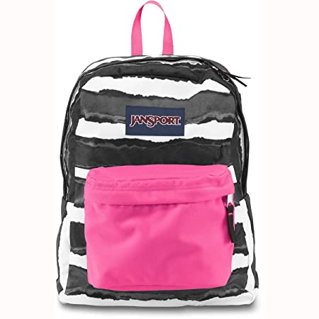 JanSport Superbreak Backpack – Black Wide Dye Stripe 16.7H x 13W x 8.5D