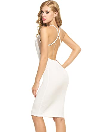 ff43f0cf7031 Meaneor Women's Sexy Halter Backless Bodycon Spaghetti Strap Club Midi Dress  at Amazon Women's Clothing store: