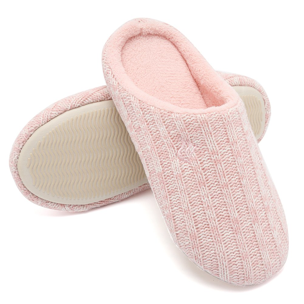 CIOR Fantiny Women's House Slippers Indoor Cashmere Cotton Knitted Autumn Winter Anti Slip
