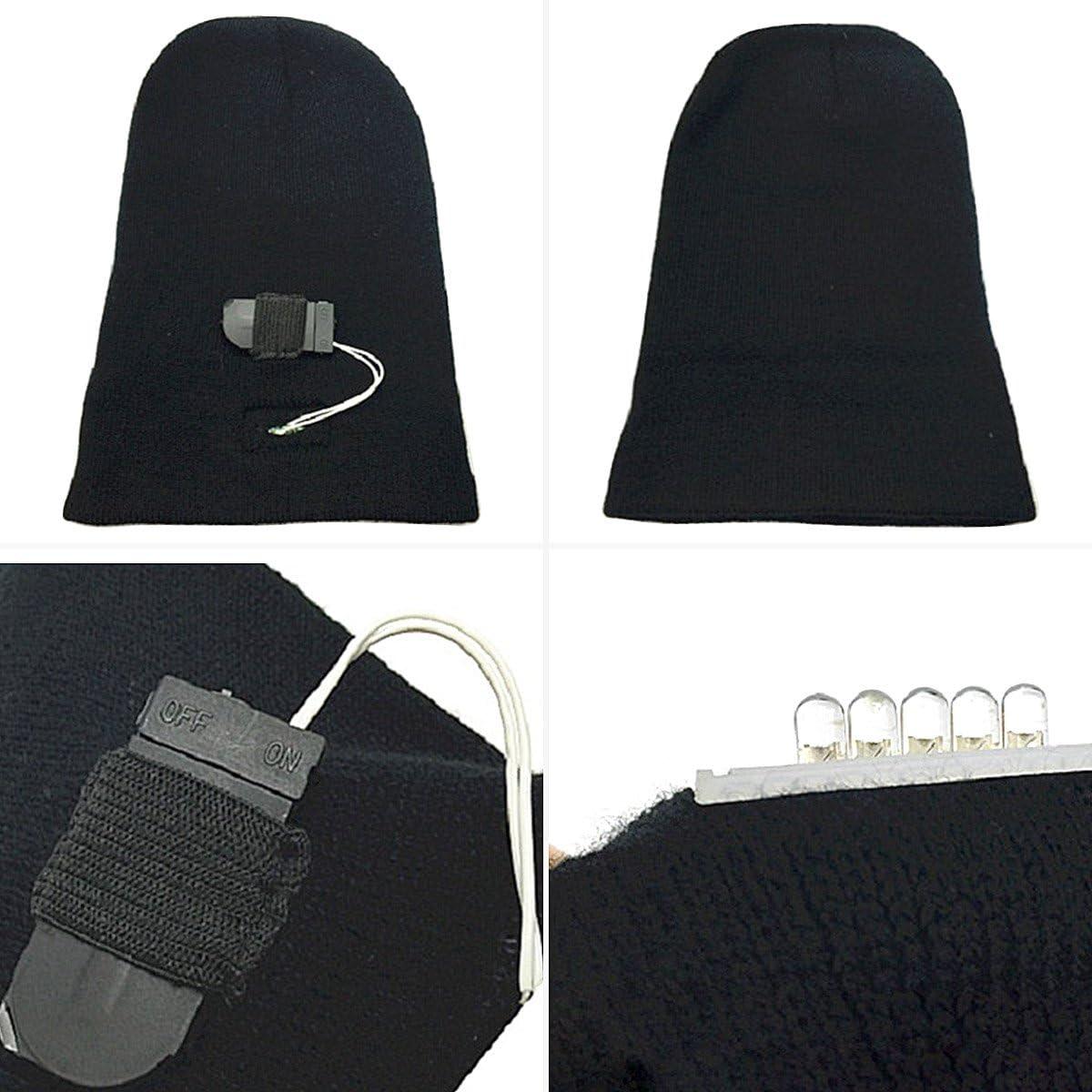 Walsilk 5 LED Beanie Cappello,LED Cappello a Maglia,LED Berretto a Maglia,LED Cappello del Beanie,Cappello del Faro,Cappello Caldo Invernale per la Caccia,Campeggio,Jogging,Camminata Corsa