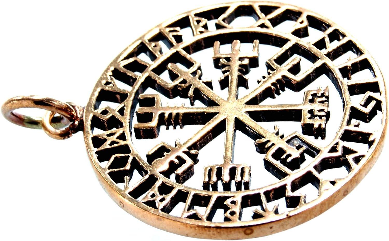 Kiss of Leather Wikingerkompass Anh/änger aus Bronze mit Baumwollband