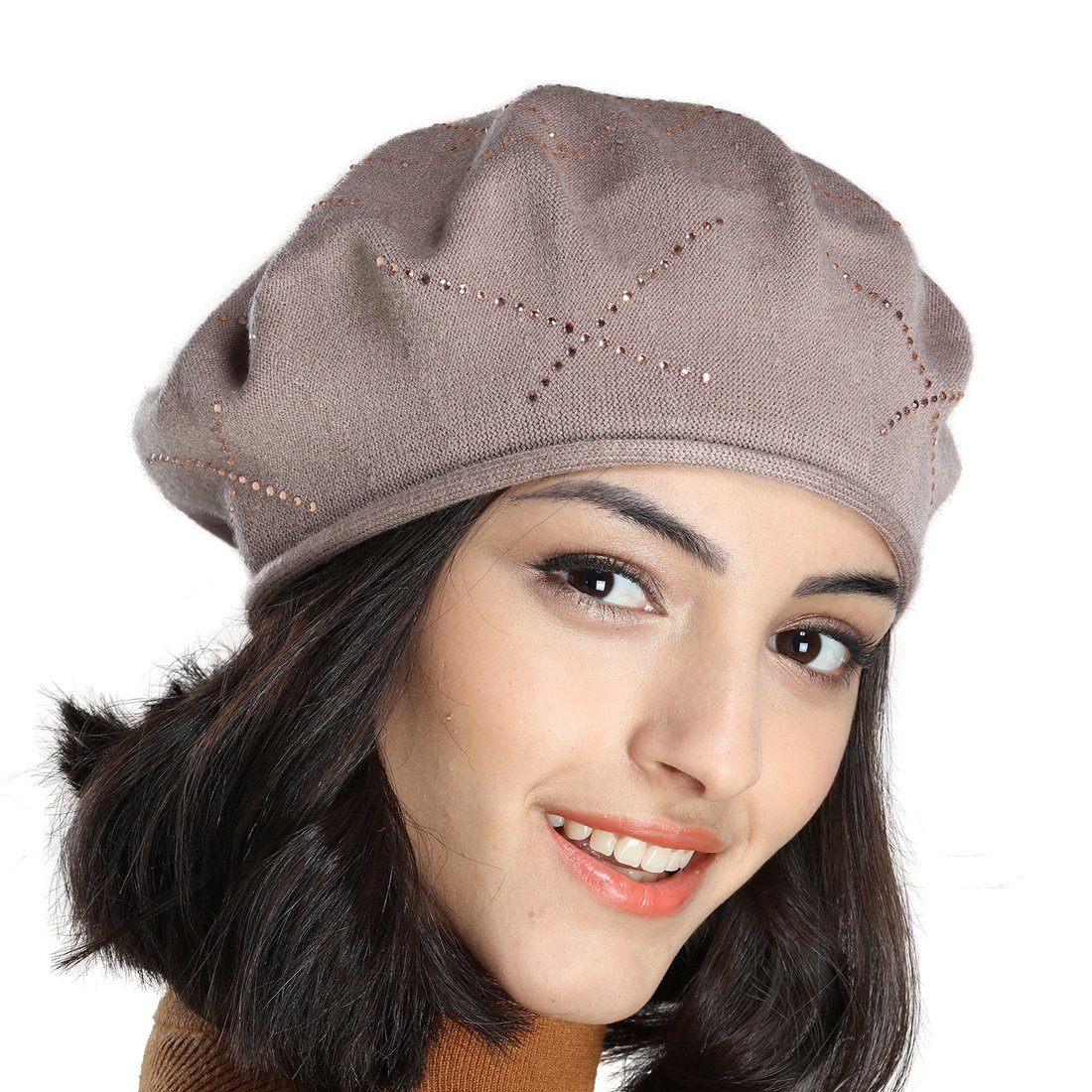 Tomorrow Apariencia Women's Thin Spring Summer Cotton Knit Beret Hat with Diamante Rhinestone Decoration (One Size, Light tan)