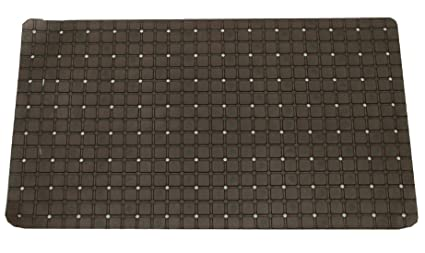 Kuber Industries Checkered PVC Non Slip Bathroom Mat with Suction Cups - 28x14, Brown