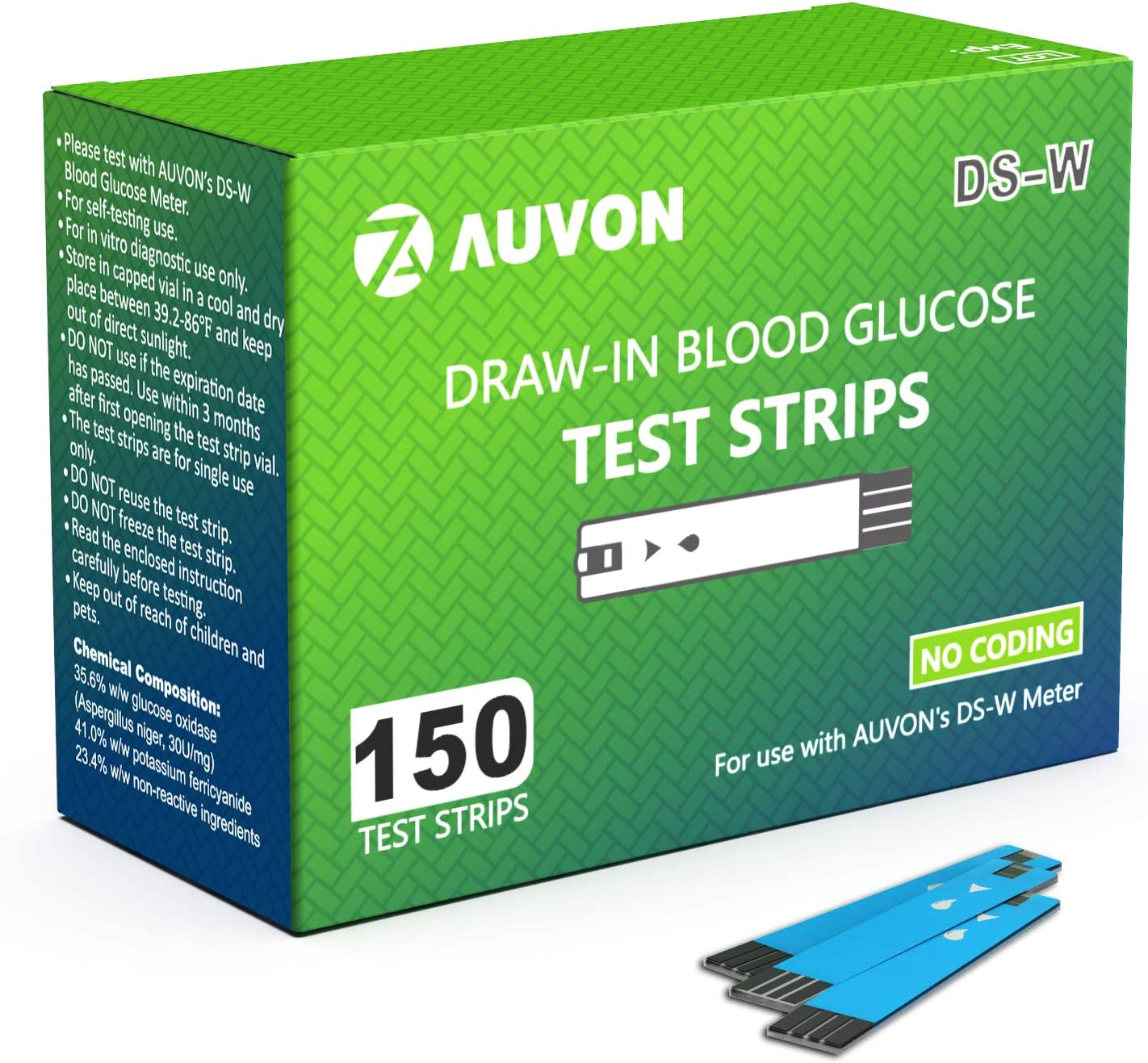 AUVON Blood Glucose Test Strips (150 Count) for use with AUVON DS-W Diabetes Sugar Testing Meter (No Coding Required, 2 Box of 75 Each)