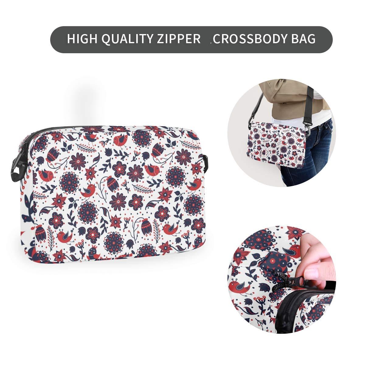 Flower Bird Art Shoulder Backpack Messenger Crossbody Laptop Bag Student Bookbags for Kid Girls Boys